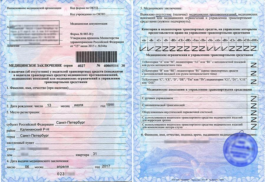 документы для получения медицинской справки